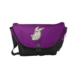 Happy Lavender Rabbit Pink Eyes Ink Drawing Design Small Messenger Bag