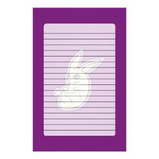 Happy Lavender Rabbit Pink Eyes Ink Drawing Design Stationery