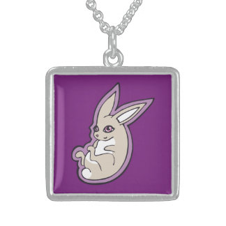 Happy Lavender Rabbit Pink Eyes Ink Drawing Design Sterling Silver Necklace