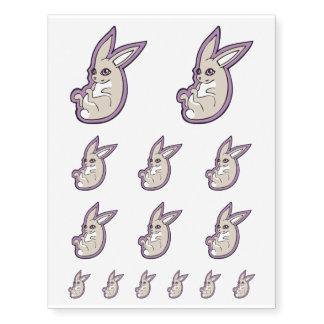 Happy Lavender Rabbit Pink Eyes Ink Drawing Design Temporary Tattoos