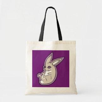 Happy Lavender Rabbit Pink Eyes Ink Drawing Design Tote Bag