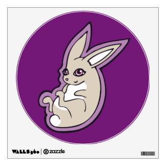 Happy Lavender Rabbit Pink Eyes Ink Drawing Design Wall Sticker