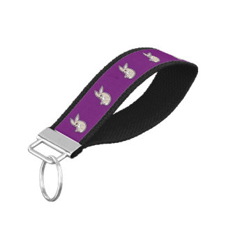 Happy Lavender Rabbit Pink Eyes Ink Drawing Design Wrist Keychain