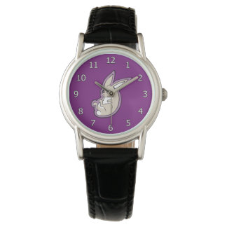 Happy Lavender Rabbit Pink Eyes Ink Drawing Design Wrist Watch