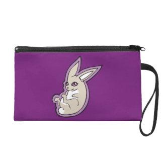 Happy Lavender Rabbit Pink Eyes Ink Drawing Design Wristlet