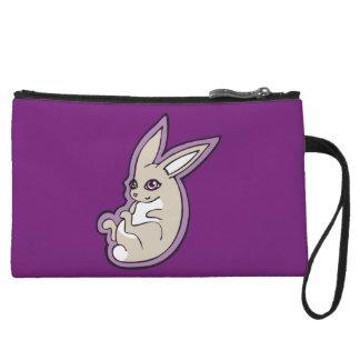 Happy Lavender Rabbit Pink Eyes Ink Drawing Design Wristlet Wallet