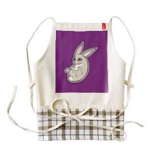 Happy Lavender Rabbit Pink Eyes Ink Drawing Design Zazzle HEART Apron