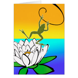 Happy Leap Year Card, Frog and Lotus Blossom Card