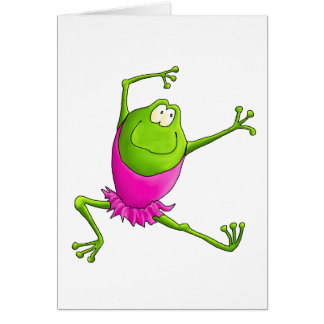 Happy Leaping Ballet Frog Greeting Card
