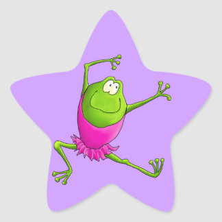 Happy Leaping Ballet Frog Star Sticker