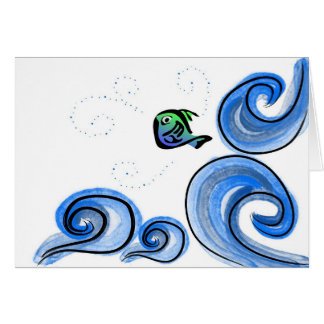 Happy Leaping Fish Greeting Cards