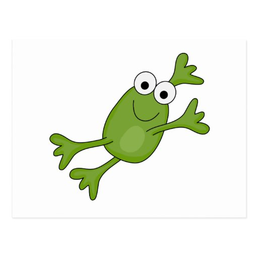happy leaping frog postcard