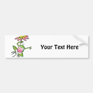 Happy Leaping Frog with Pink Daisy Bumper Sticker