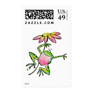 Happy Leaping Frog with Pink Daisy Stamp