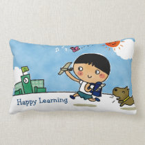 Happy Learning Boy Heading to School with Puppy Lumbar Pillow