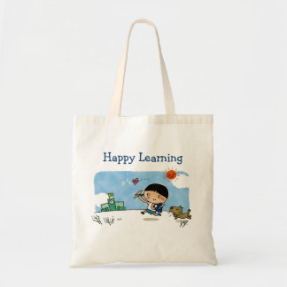 Happy Learning Boy Heading to School with Puppy Tote Bag