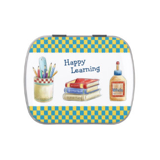 Happy Learning in School - Watercolor Stationery Candy Tin