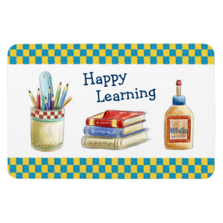 Happy Learning in School - Watercolor Stationery Rectangular Photo Magnet