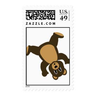 Happy Left Tumbling Brown Bear Stamp