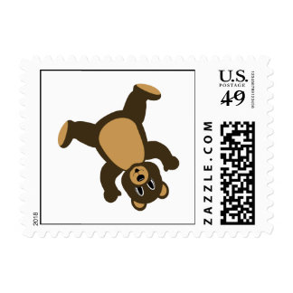 Happy Left Tumbling Brown Bear Postage Stamp