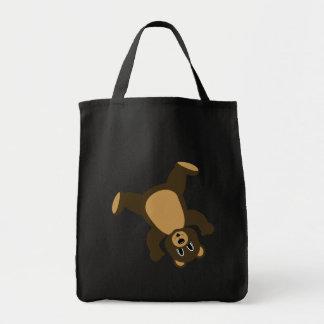 Happy Left Tumbling Brown Bear Tote Bag