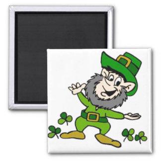 Happy Leprechaun 2 Inch Square Magnet