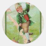 Happy Leprechaun Classic Round Sticker