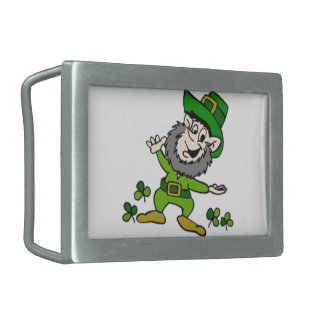 Happy Leprechaun Rectangular Belt Buckle