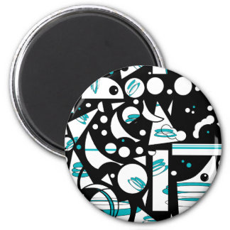Happy life - Blue 2 Inch Round Magnet