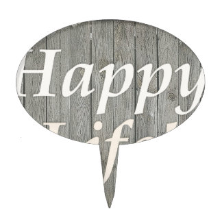 Happy Life Letters Shabby Style Poster Cake Topper