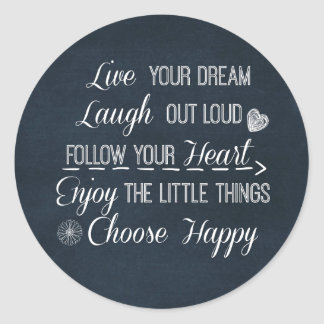 Happy Life Rules Quotes Affirmations Classic Round Sticker