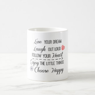 Happy Life Rules Quotes Affirmations Coffee Mug