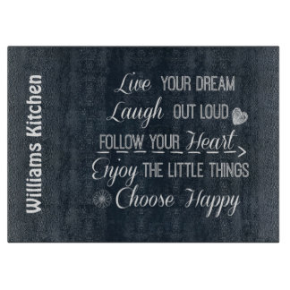Happy Life Rules Quotes Affirmations Cutting Board