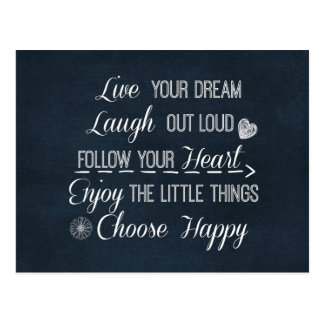 Happy Life Rules Quotes Affirmations Postcard