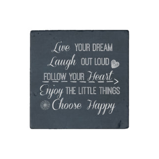 Happy Life Rules Quotes Affirmations Stone Magnet
