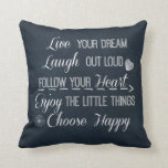 Happy Life Rules Quotes Affirmations Throw Pillow