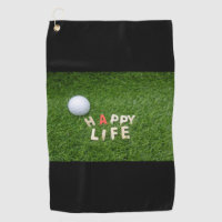 Happy Life word for golf towel