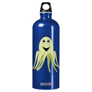 Happy Light Green Cartoon Octopus Aluminum Water Bottle