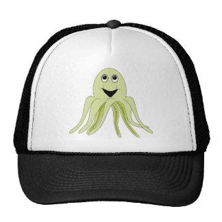 Happy Light Green Cartoon Octopus Trucker Hat