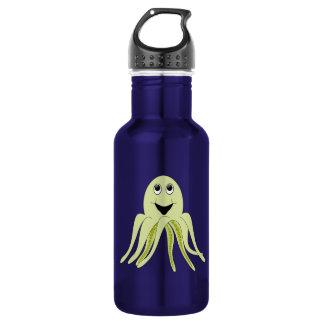 Happy Light Green Cartoon Octopus Water Bottle