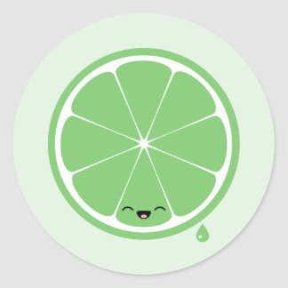 Happy Lime Classic Round Sticker