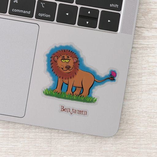 Happy lion with butterfly cartoon illustration sticker