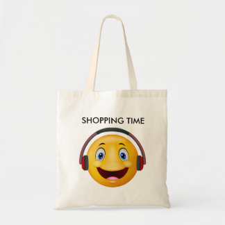 Happy listening music budget tote bag
