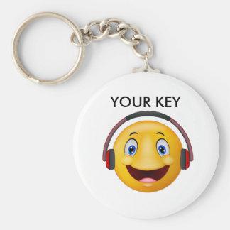 Happy listening music basic round button keychain