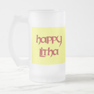 Happy Litha Beer Glass Frosted Glass Beer Mug