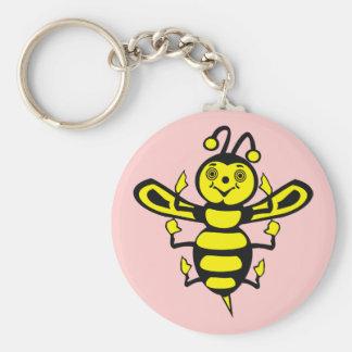 Happy Little Bee Basic Round Button Keychain