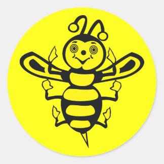 Happy Little Bee Classic Round Sticker