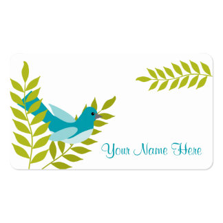 Happy Little Blue Bird & Green Leaves Calling Card Business Card