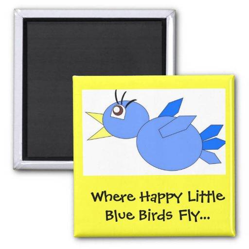 Happy little blue birds magnet