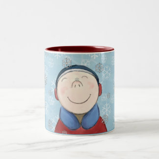 Happy Little Boy in the Snow Mug